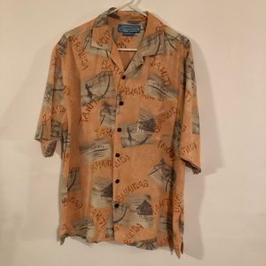Bermuda Bay Men's Tropical Orange Shirt Size M/M